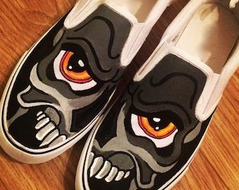 Skull Graffiti Shoes, Custom Shoes, Custom Converse, Converse Allstars, Vans Shoes, Painted Shoes