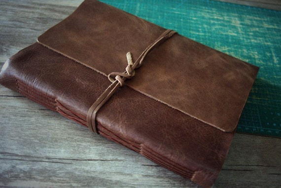 Leather Photo Album Hand Stitched Initials Album Leather Etsy
