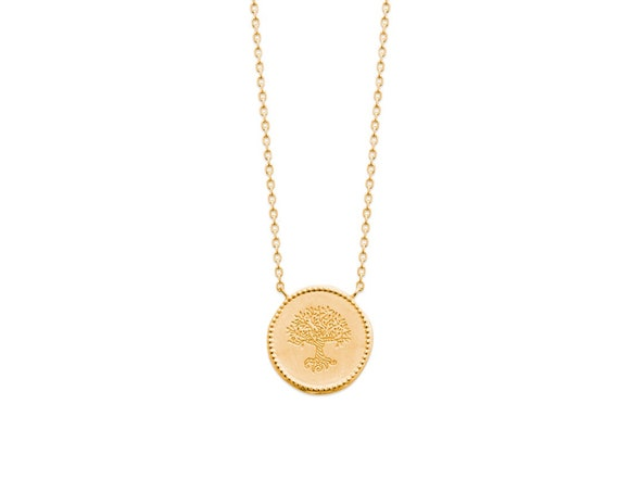 Gold medal necklace Tree of Life for women, adjustable Chain necklace, Minimalist and Dainty, everyday necklace