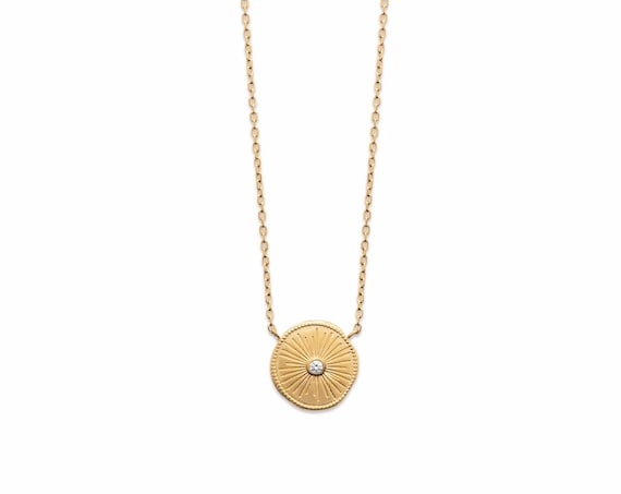 Gold medal Necklace with diamond in zirconium, necklace for women, minimal jewel, christmas gift