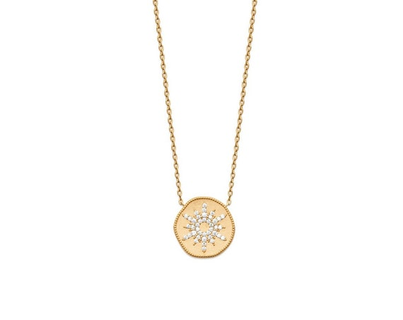 Gold medal Necklace for women with zirconium sun and adjustable chain, Minimalist and Dainty necklace