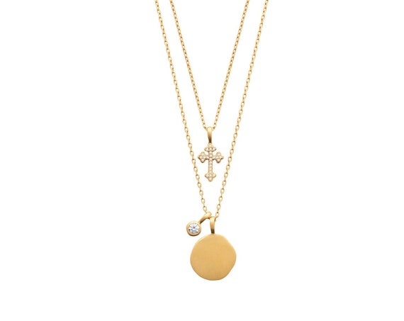 Gold necklace for women with medal and cross in zircon, minimal jewel, Christmas gift