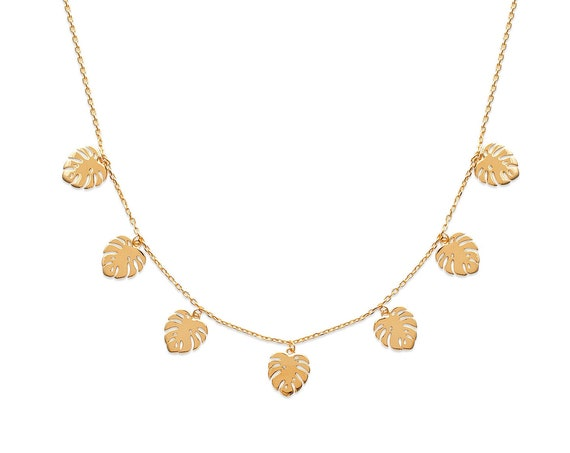 Gold Monstera leaf necklace for women, Chain necklace, Minimalist and Dainty necklace