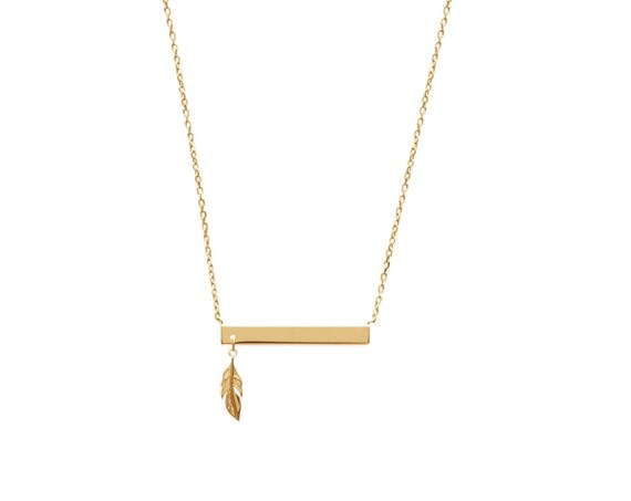 Gold bar necklace with feather, necklace for women, minimal jewel, christmas gift