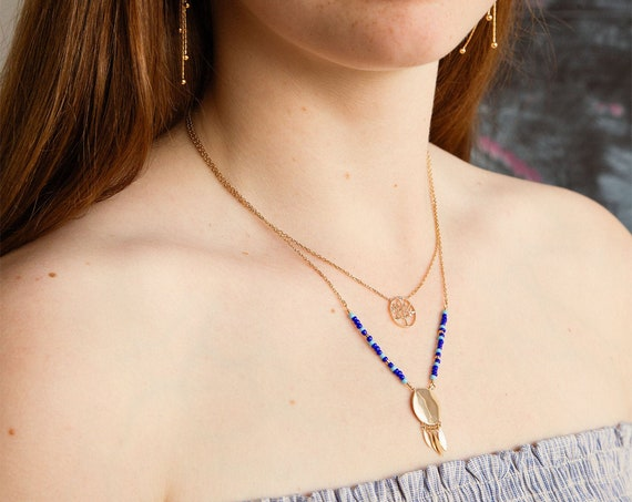 Gold Necklace with blue beads and small feathers, necklace for women, Bohemien necklace, everyday necklace