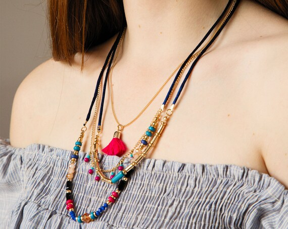 Layered necklace in gold metal, beads of several colors and tassel, Ethnic Jewelry for woman , Bohemian style