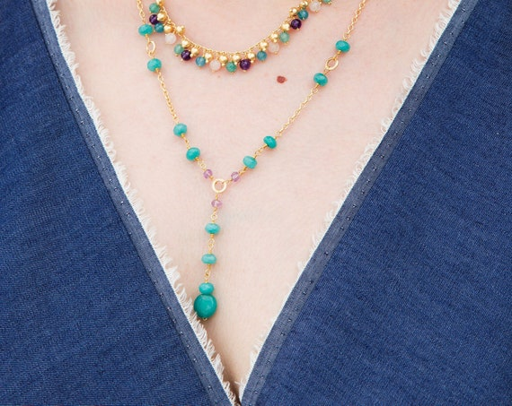 Long gold pendant necklace for women with beaded natural stone, bohemian necklace