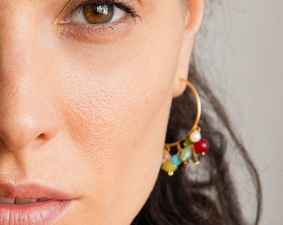 Gold earrings for women with multi stones, ethnic dangle hoop earrings, christmas gift