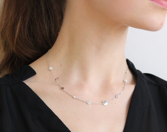 Silver geometric necklace with coins for women, thin and dainty necklace, minimal jewel, Christmas gift