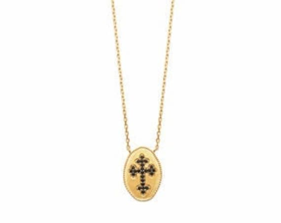 Gold necklace for women with cross in zirconium, minimal and dainty necklace, everyday necklace