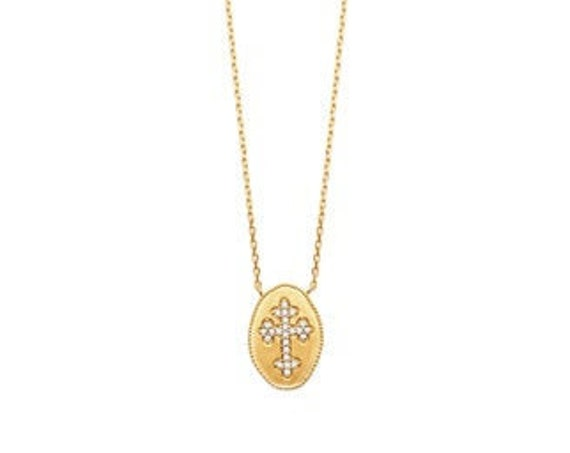 Gold necklace for women with cross in zirconium, minimalist and dainty necklace, everyday necklace, christmas gift