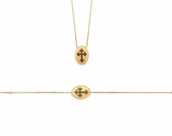Gold bracelet for women with cross, minimalist dainty braceket, chain bracelet, everyday bracelet, christmas gift