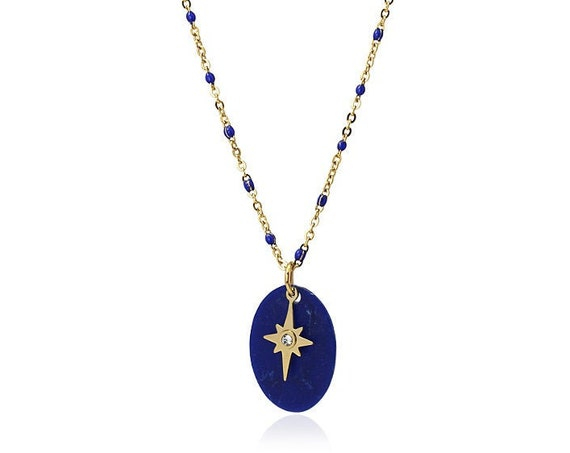 Medal necklace with adjustable chain and a polar star, Gold surgical steel necklace for women