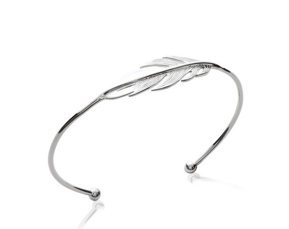 Silver feather Bangle Bracelet for women bracelet, Thin and Dainty bracelet,  jewel minimalist, everyday bracelet, Christmas gift
