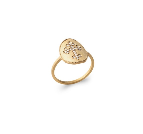 Gold ring with cross for women, zirconium cross, dainty and minimalist ring, easy to wear everyday
