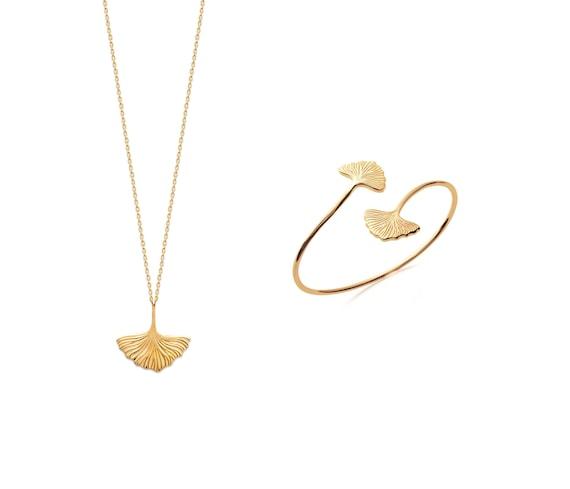 Gold ginkgo leaf necklace for women,  Adjustable chain necklace, Minimal jewel, Valentine's gift