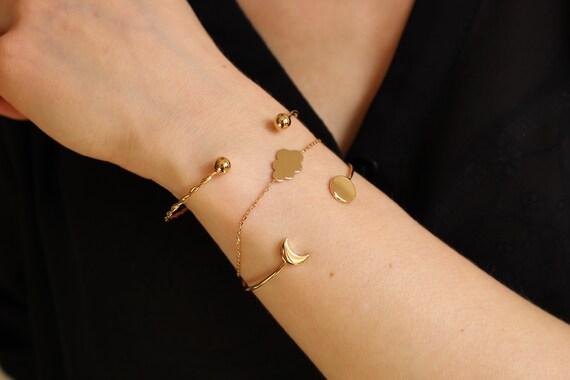 Gold twisted bangle bracelet for women, Minimal jewel, Everyday bracelet
