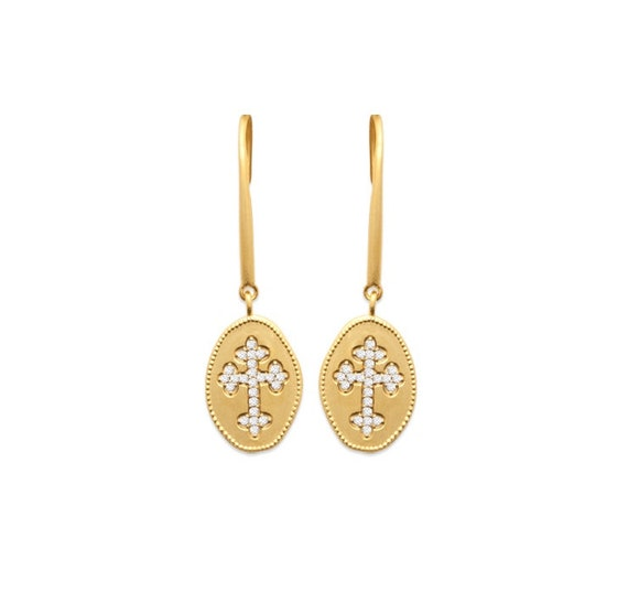 Gold plated dangle earrings with cross for women, zirconium cross, dainty and minimalist, geometric earrings, everyday earrings