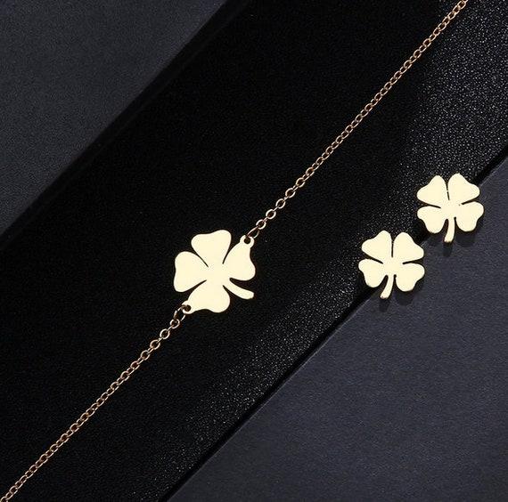 Women's Silver stainless steel Bracelet, Lucky Clover Pattern, Minimalist Jewelry, Chain Bracelet, Thin and Dainty, everyday