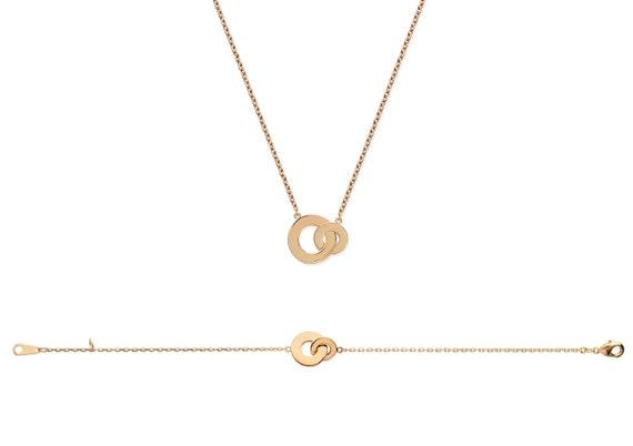 Geometric Double round bracelet, Gold plated bracelet , Women bracelet, Chain bracelet,  Thin bracelet,  Dainty bracelet,  Jewel bracelet