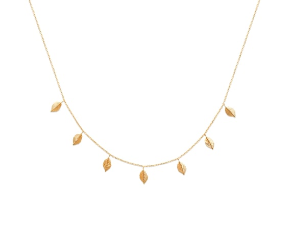Gold leaf necklace for Women, Minimalist necklace, Thin and Dainty necklace for everyday