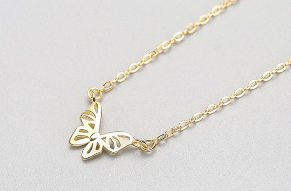 Silver gold butterfly necklace for women, Minimal jewel, dainty necklace