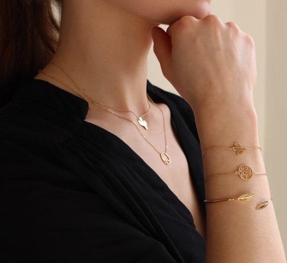 Cactus Bracelet, Gold plated bracelet , Women bracelet, Chain bracelet,  Thin bracelet,  Dainty bracelet,  jewel minimalist bracelet