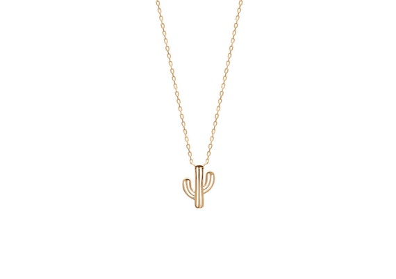 Gold Cactus necklace for women, Chain necklace, dainty  and minimalist, everyday necklace