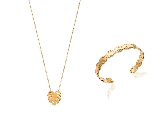 Gold necklace with Monstera leaf for women, Chain necklace minimalist and Dainty, everyday necklace