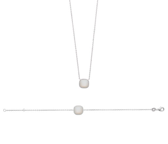 Silver necklace with Nacre, women's jewelry, chain necklace, dainty and thin necklace, adjustable necklace, wedding necklace