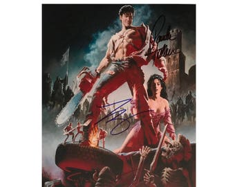 ARMY OF DARKNESS 8 x 10 photo Signed by Bruce Campbell, Sam Raimi, Patricia Tallman & Ted Raimi. High Quality Photo