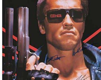 Signed THE TERMINATOR Poster   Arnold Schwarzenegger, Linda Hamilton,  Michael Biehn,Earl Boen Bill Paxton & James Cameron