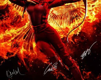 """Signed """"THE HUNGER GAMES: MockingJay - Part 2 """" Movie Poster"""