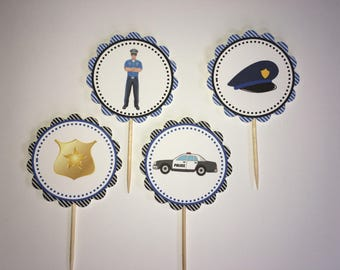 Policeman themed cupcake toppers