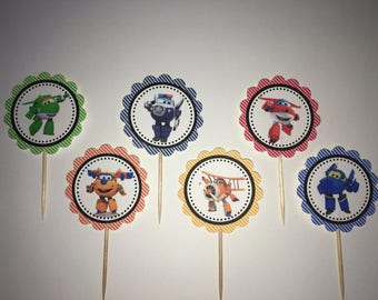 Super Wings cupcake toppers