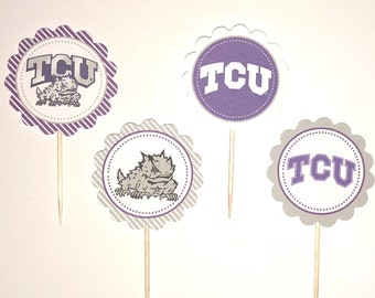 Texas Christian University - TCU Horned Frogs - 12 cupcake toppers