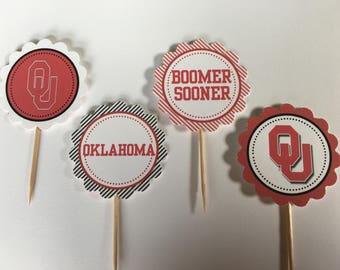 University of Oklahoma / OU Boomers - 12 cupcake toppers
