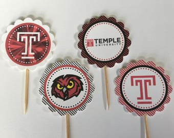 Temple University - 12 cupcake toppers