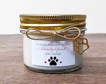 Pet Memorial Gift Candle. Loss of dog. Loss of Cat. Sympathy Gift. 4oz Soy Vanilla.