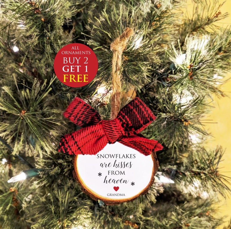 Snowflakes are kisses from heaven Custom colors free personalization All Ornaments buy 2 get 1 FREE. Memorial Christmas ornament
