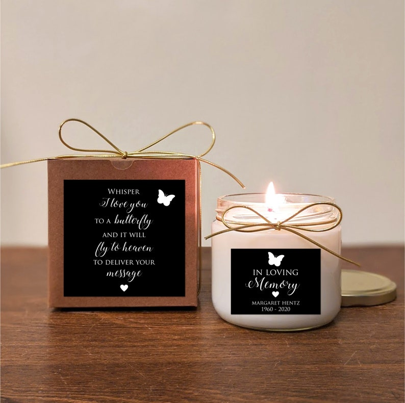 In loving memory Soy Vanilla. Memorial Gift Butterfly Candle Pick text and colors