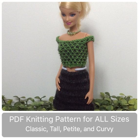 Curvy Barbie Clothes Pattern For Knitted Checked Top Etsy