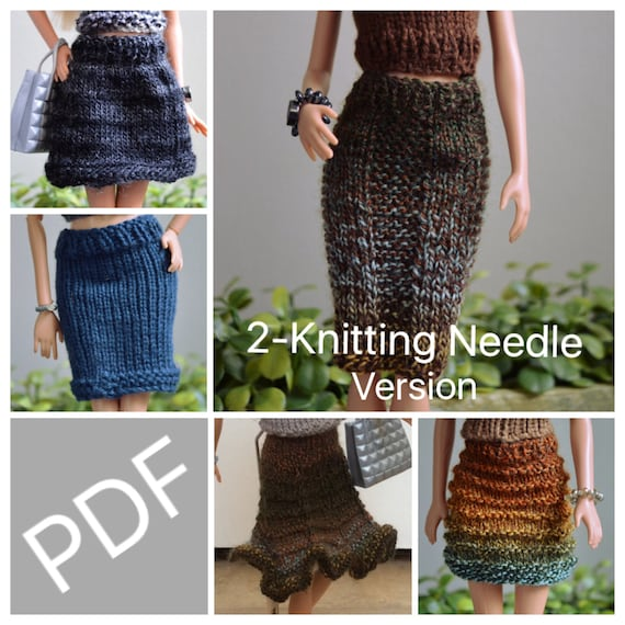 Easy Barbie Knitting Patterns For Essential Skirts 5 Pack Etsy