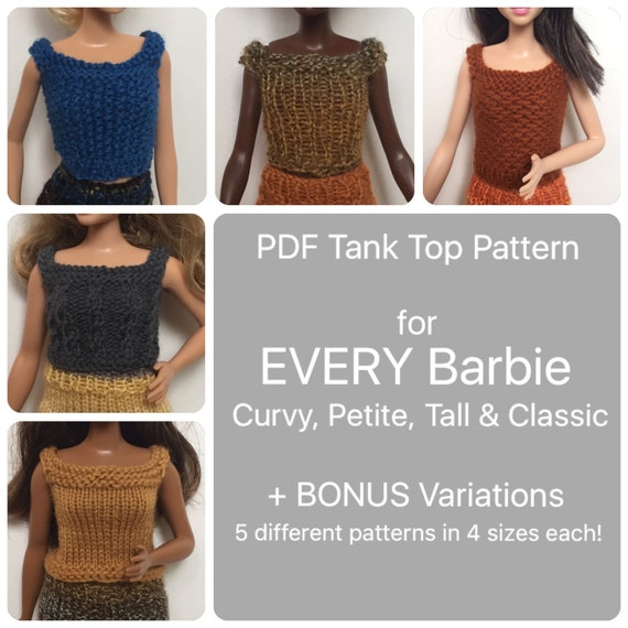Curvy Barbie Clothes Pattern for 5 Different Knit Tank Tops