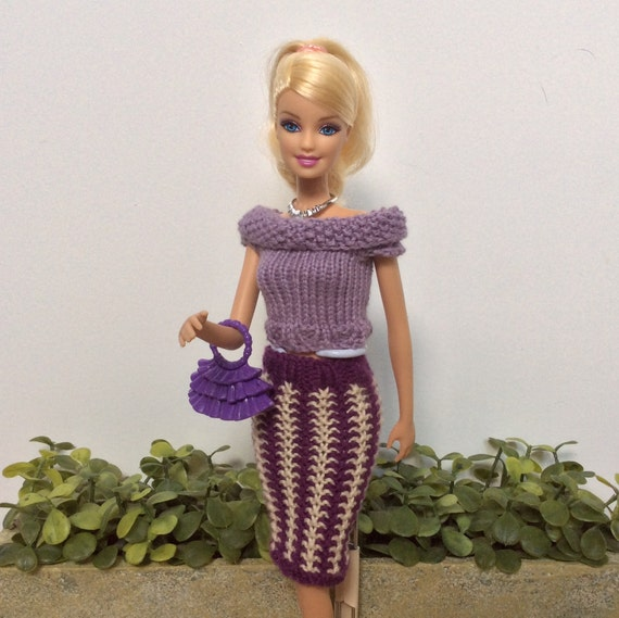 Barbie Clothes Knitting Pattern For Skirt And Top Knitted Etsy