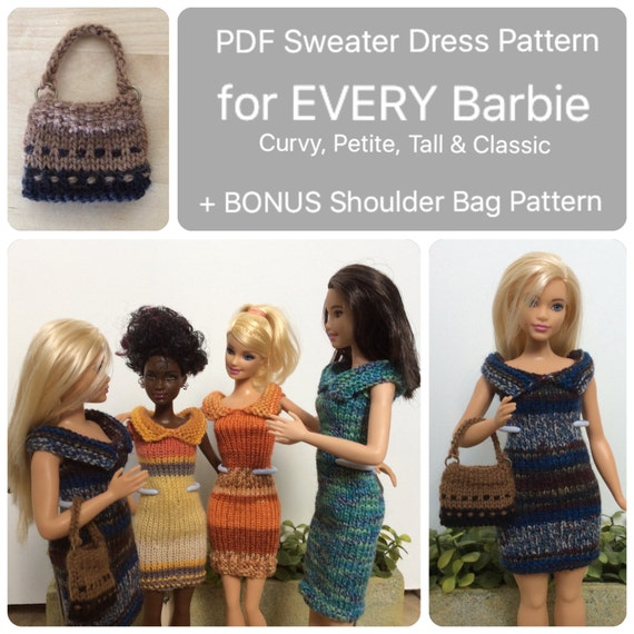 Barbie Clothes Knitting Pattern For Sweater Dress Bag Knit Etsy