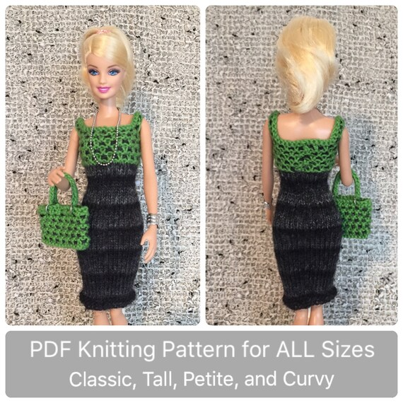 Curvy And Classic Barbie Clothes Pattern For Knit Checkered Etsy
