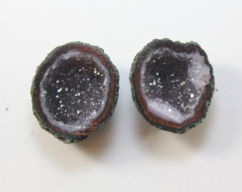 Tabasco BABY Geodes with Druzy Quartz Perfect Pair Great For Jewlery Making earrings Vibrant Colors CutPolished Hand Picked M.2