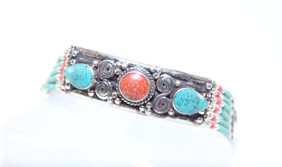 aef2b1196d64b Handmade Bracelet-Crushed Inlaid Turquoise Coral   Tiny Beads