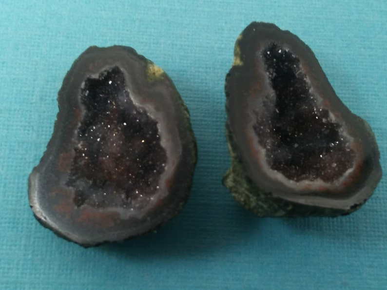 Great For Jewlery Making earrings Vibrant Colors CutPolished Hand Picked M.13 Tabasco BABY Geodes with Druzy Quartz Perfect Pair